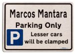 Marcos Mantara Car Owners Gift| New Parking only Sign | Metal face Brushed Aluminium Marcos Mantara Model